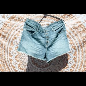 Denim Shorts with 3 Buttons